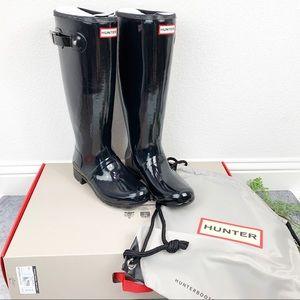 Hunter Black Original Tour Gloss Rain Boots